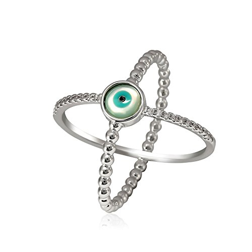 Horror Halloween Green Evil Eyes Silver Plated Cross Women Rings Eternity Engagement Wedding Band Rings