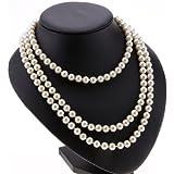 Postizas acrílicas Ardisle blanco perla drop Pearl collar con colgante en forma de cuentas 150 cm con cuentas de cadena larga cuerda