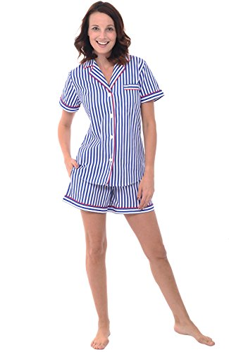 Alexander Del Rossa Womens Cotton Pajamas, Short Button Down Woven Pj Set, 2X Blue and White Striped (A0550V102X) (Short Waist Stripe)