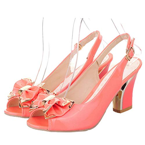 Vitalo Womens Peep Toe Slingback Pumps Block Heel Patent Bow Court Shoes Size 8.5 B(M) US,Coral