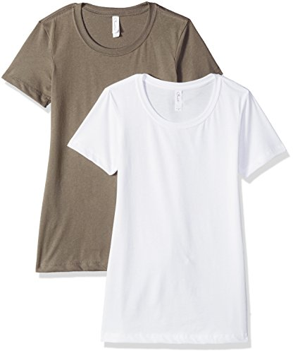 Clementine Apparel Women's Petite Plus Ideal Soft and Trendy Crew Neck Tee (Pack of 2), White\Warm Gray, XXL