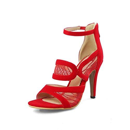 QPYC Tirantes de tobillo de las mujeres punta abierta e hilo neto Empalme sandalias de tacón alto Oficina Banquete de gran tamaño zapatos de mujer Red