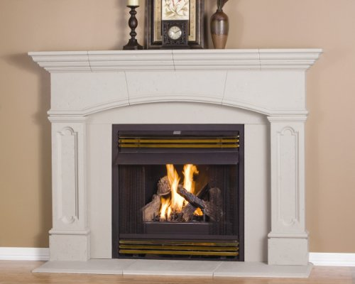 (Abington Thin Cast Stone Adjustable Fireplace Mantel Kit - Complete Kit includes Hearth and Adjustable Interior Filler Panels)
