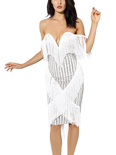 S Curve Sequin Mesh Evening Party Clubwear Off Shoulder Strapless Tassel Fringe Bandage Bodycon Dress White (Mesh Strapless Dress)