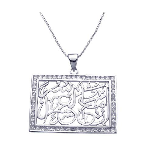 Aienid 925 Sterling Silver Rhodium Plated Cubic Zirconia Rectangle Pendant Necklace for Women 18Inches