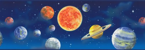 Unique Blue Border (York Wallcoverings Just Kids LK1620B Blue Outer Space Planets Wallpaper Border - Ultra Removable)