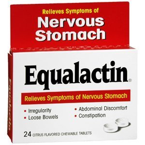 Equalactin Laxative Chewable Tablets for Nervous Stomach, Citrus - 24 Ea, 3 Pack