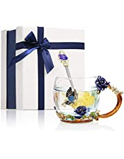 Glass Teacups, Decdeal Flower Glass Mug Enamel 320ml Teacups Beauty Handmade Handle Design Luxury Tea Cups with 1 Spoon and Cleaning Cloth Valentine's Day Gift