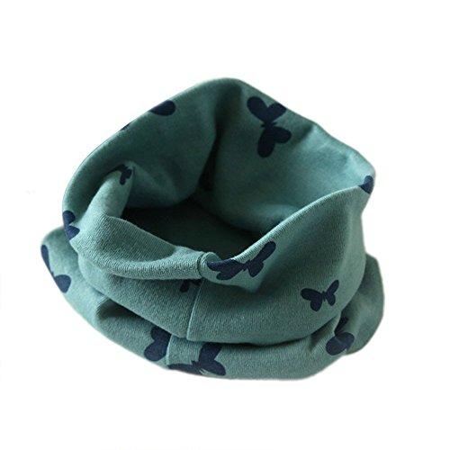 Auxma Otoño Invierno Niños Niñas collar bebé de la bufanda del Algodón Pañuelos,mariposa impreso Verde