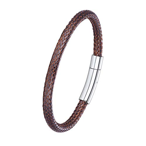 Surfer Bracelets Men 5mm 22CM Waterproof Braided Genuine Leather Bracelet with Stainless Steel Clasp Brown (Mens Braided Bracelet Brown)