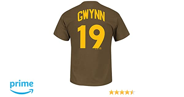 separation shoes 2415a d2ce0 Majestic Tony Gwynn San Diego Padres Brown Cooperstown Player Jersey Name  and Number T-shirt