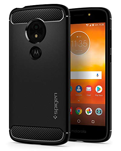 Spigen Rugged Armor Moto E5 Play Case with Flexible and Durable Shock Absorption with Carbon Fiber Design for Motorola Moto E5 Play (2018) - Black