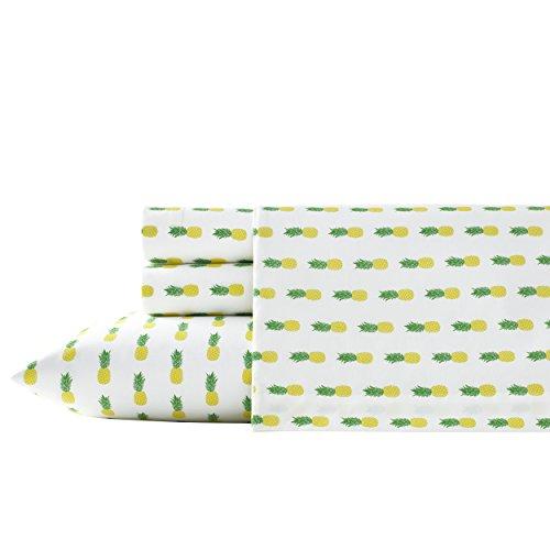 Poppy & Fritz 220846 Pineapples Cotton Sheet Set,Yellow/Green,Queen