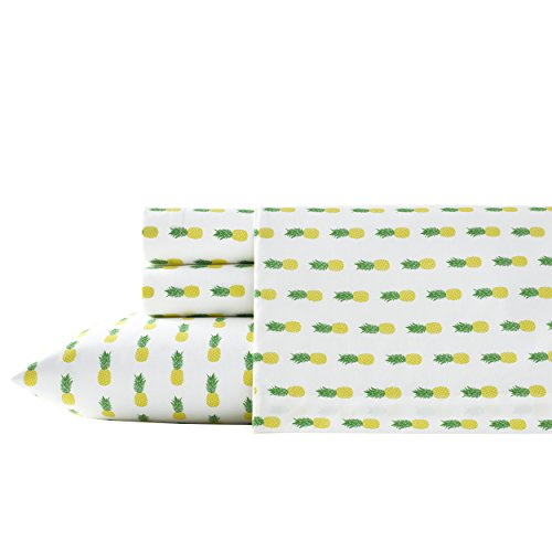 Poppy & Fritz Pineapples Cotton Sheet Set, Twin, Yellow/Green