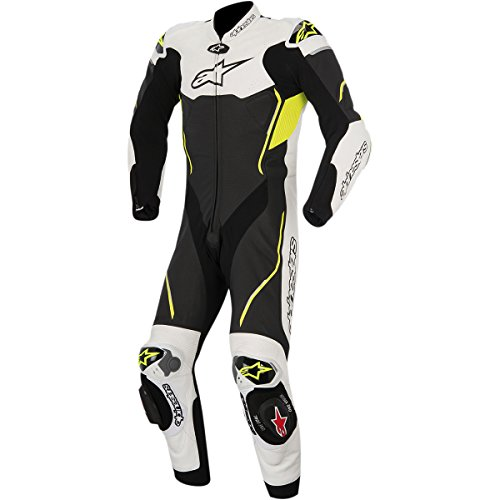 Alpinestars Atem Men's 1-Piece Street Motorcycle Race Suits - Black/White/Yellow / 54