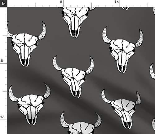 - Spoonflower Boho Skull Fabric - Gray White Boho Southwest Bison Buffalo Charcoal Animal Skull Western Bohemian by Kelly Korver Printed on Fleece Fabric by The Yard