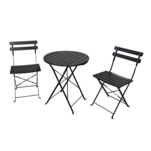 - ART TO REAL 3 Piece Outdoor Bistro Table Set, Outdoor Furniture Round Folding Table & 2 Chairs Set, All Weather Resistant Wood-plastic Material, Rust-proof Powder-coated Metal Frame