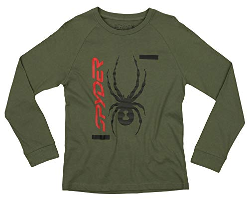 (Spyder Youth Boys Athletic Long Sleeve Graphic Cotton Tee, Dusty Olive/Whole Logo, Small 8)