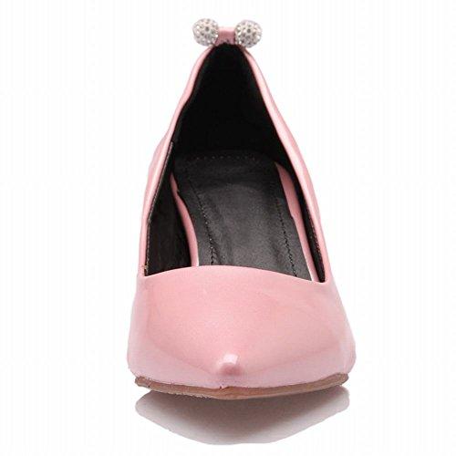 Latasa Donna Moda Faux Vernice Punta A Punta Mid Kitten Tacco Vestito Scarpe Rosa