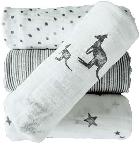 JILL&JOEY Baby Muslin Swaddle Blankets, 4 Pack, 100% Cotton, -