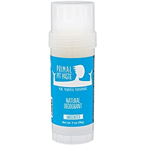 Primal Pit Paste All Natural Unscented Deodorant – Aluminum Free, Paraben Free, Non-GMO for Women and Men – Earth Friendly, BPA Free 2oz Stow-and-Go Stick – Scent Free