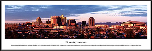 - Blakeway Worldwide Panoramas Phoenix, Arizona - Blakeway Panoramas Skyline Posters with Standard Frame,