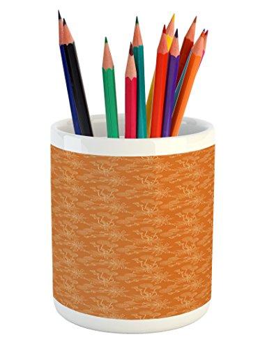 Ambesonne Burnt Orange Pencil Pen Holder, Dandelions Poppies