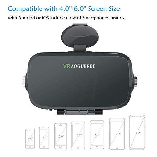 3D VR Glasses, YESSHOW VR Goggles Virtual Reality Headset Box for 3D Movies and VR Games with Remote Control Compatible with iPhone X /8/8 Plus 7/7 Plus/6S/ 6 Samsung S8/S7 and Other 4.0''-6.0'' phones by YESSHOW (Image #7)