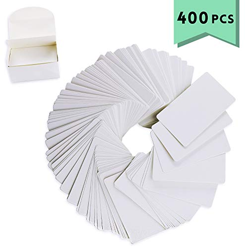Weoxpr 400pcs White Blank Kraft Note Paper Business Cards Vocabulary Word Card Message Card DIY Gift Card Blank Paper Tags