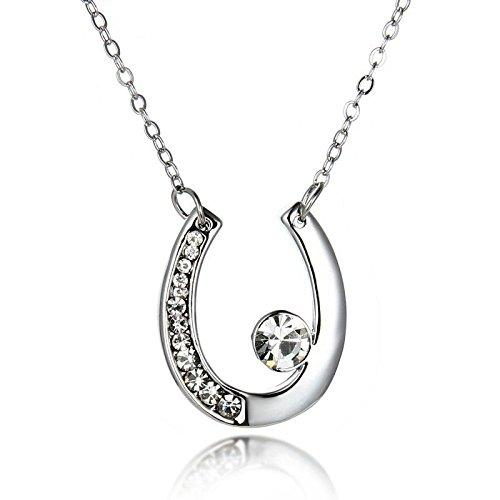 Women's Girl Bridal Horse Shoe Pendant Necklace Elements Crystal Fashion Jewelry (Bridal Horseshoe)