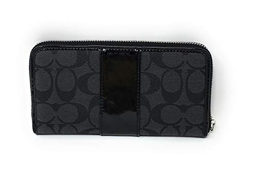 COACH F35443 ACCORDION ZIP WALLET IN SIGNATURE CANVAS BLACK SILVER 2 by Coach (Image #1)