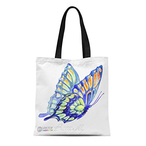 Semtomn Canvas Tote Bag Shoulder Bags Colorful Black Drawing Watercolor Swallowtail Butterfly Blue Abstract Purple Women's Handle Shoulder Tote Shopper Handbag