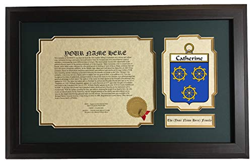 (Catherine - Coat of Arms and Last Name History, 14x22 Inches Matted and Framed)