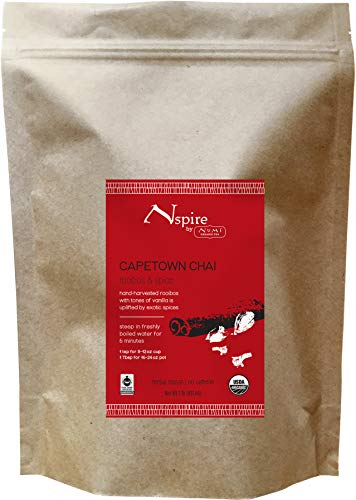 Nspire by Numi Organic Tea Capetown Chai, 16 Ounce Pouch, Loose Leaf Rooibos Tea, Caffeine-Free