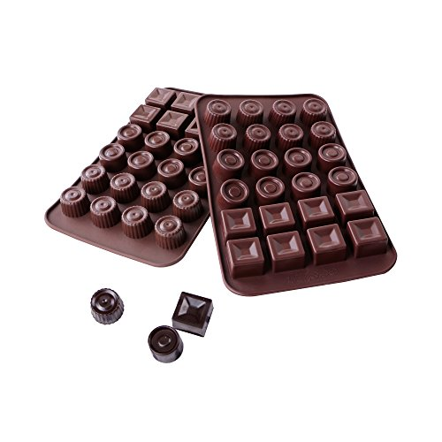 Webake 2-pack Silicone Chocolate Mold, 3 Shape Candy Molds (24-cavity)