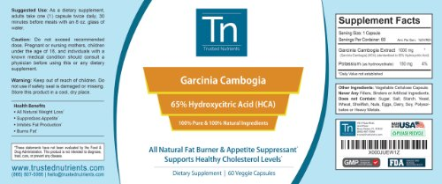 Trusted Nutrients 100% Pure Garcinia Cambogia Extract 65% HCA, 60 Veggie Caps & Pure Green Coffee Bean Extract 60 Veggie Caps Bundle. Double Dose of Weight Loss