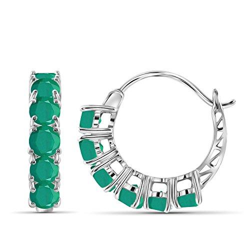 (3.35ctw Genuine Emerald Gemstone Sterling Silver Hoop Earrings)