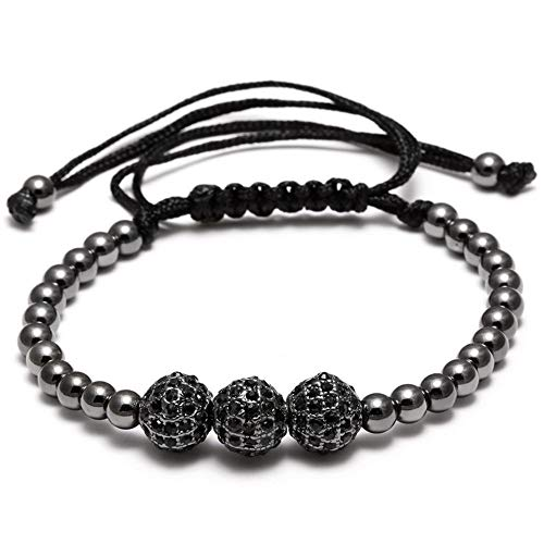 (Uloveido Unisex Luxury CZ Braided Copper Bracelets with Micro Pave Cubic Zirconia Beads Macrame Strand Bracelet Bangle Charm Jewelry for Women Men YB005 (3 Ball)