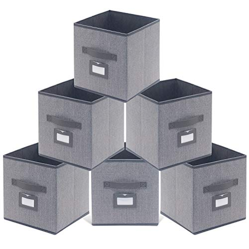 (Onlyeasy Fabric Foldable Storage Cubes Bins Boxes with Leather Handles - Durable Storage Bins for Shelves Cube Cubby Bookcase Organizer Pack of 6, 10.5 x 10.5 x 11 inch, Linen-Like Grey, MXDBS06PLP)