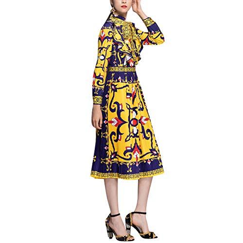 Floreale Per Di Stampa Donne Vestito Pieghettato Della Da Festa Enosiegoiw Dell'arco Manica Le Collo Yellow Del Arco Legame FOWgqx68