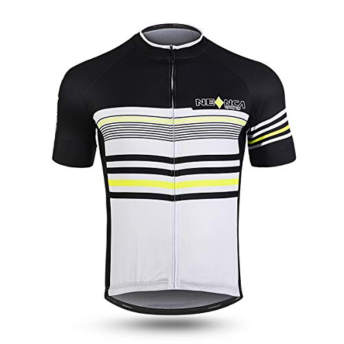 (NEENCA Mens Cycling Jersey Short Sleeve with Full Zip, Quick Drying, 3 Pockets - Sports Shirt)