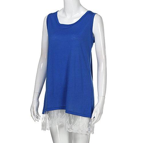 Hauts Chanyuhui Réservoir Femmes Robes En Soirée Vente Adolescentes Sans Manches En Dentelle Patchwork Casual Partie Mini-robe Bleue