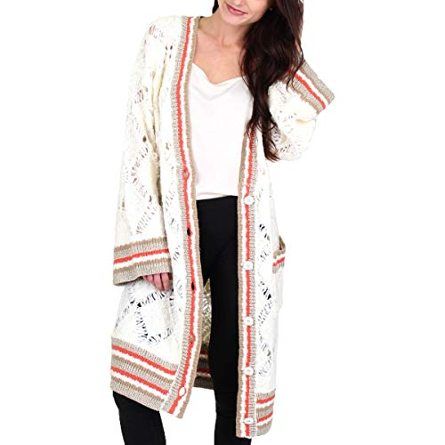 Juicy Couture Black Label Womens Knit Striped Cardigan Sweater Ivory Size XL