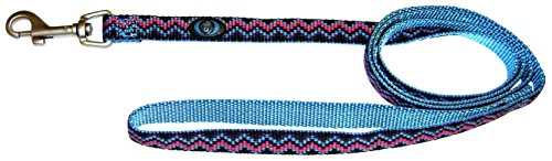Hamilton 5/8-Inch Single Thick Nylon Lead with Swivel Snap Brushed Hardware, 6-Feet/Long, Ocean Blue Weave (Lead Weave)
