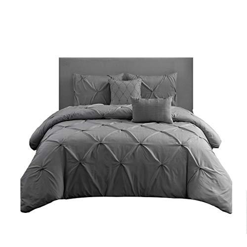 Wonder Home 5 Piece Pinch Pleat Pintuck Comforter Set Grey, Oversized, OEKO-TEX Certified, Triple Needle Luxury Pintuck Bedding Set, Queen, 92