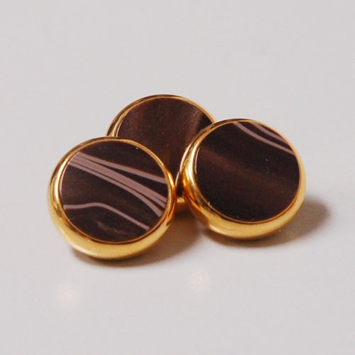 - YAMAHA XENO Trumpet Finger Buttons Set of 3 24K Gold Plated with Chocolate Swirl Custom Inlay