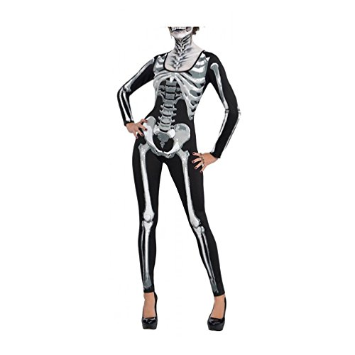 Plus Size Skeleton Zombie Costumes (Lada Vida Women's Halloween Customs Skeleton Bodysuit Sexy Catsuit Party Theme XXL Size)