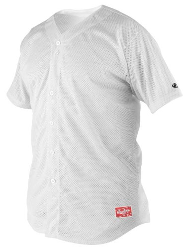 S/s Full Button Jersey (Rawlings Men's Full Button RBJ167 Jersey , White, Small)
