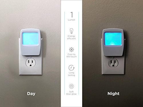 Westek Plug-In Forever-Glo LED Night Light - 4 Pack - Always-On Cool Blue Glow, Energy Efficient - White Finish - Ideal for the Bedroom, Bathroom, Kitchen, Hallway, Stairs or any Dark Room