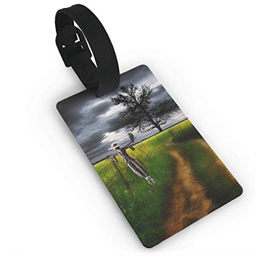 SDGlicenseplateframeIUY Print PVC Travel Luggage Tag with Strap for Baggage Bag/Suitcases - Art Scarecrow in Farm Business Card Holder Name ID Labels Set for Travel size 3.7in X 2.2in